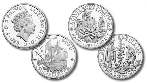 US and UK 400th Anniversary of the Mayflower Voyage Silver Coin and Silver Medal