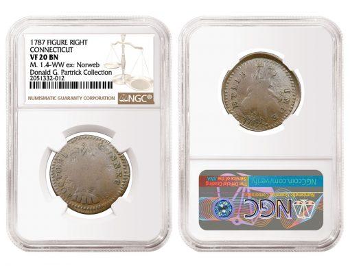 1787 Figure Right Connecticut Copper