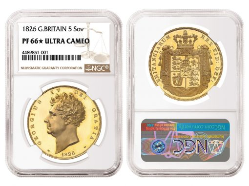 1826 Great Britain Five Pounds, graded NGC PF 66★ Ultra Cameo