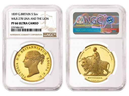 1839 Great Britain Una and the Lion Gold Coin, graded NGC PF 66 Ultra Cameo