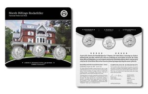 Marsh-Billings-Rockefeller Quarters for Vermont in Three-Coin Set