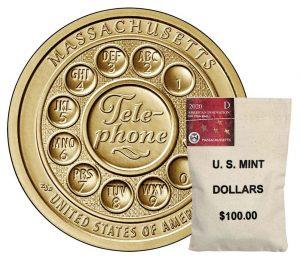 Bag of 2020-D American Innovation Dollars for Massachusetts