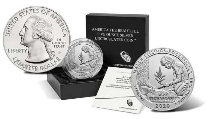 2020-P Marsh-Billings-Rockefeller National Historical Park Five Ounce Silver Uncirculated Coin and Packaging