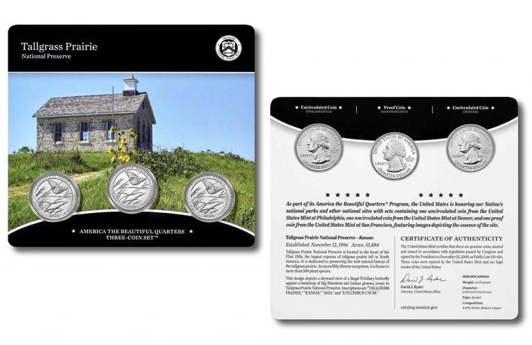 Tallgrass Prairie Quarters for Kansas in Three-Coin Set