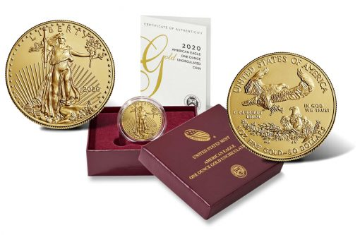 2020-W $50 Uncirculated American Gold Eagle, case and certificate