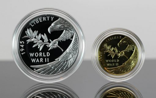 CoinNews Photos - End of World War II 75th Anniversary Silver Medal and Gold Coin