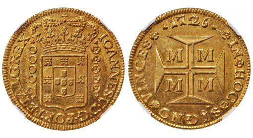 Lot 71139: BRAZIL. 20000 Reis, 1726-M. Minas Gerais Mint. Joao V. NGC MS-62