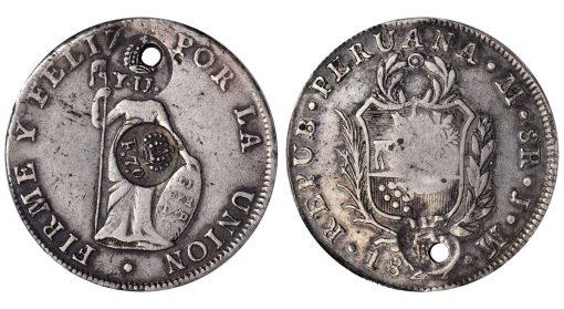 Lot 72516: PHILIPPINES. Philippines - Philippines - Peru. 8 Reales, ND (1834-37)