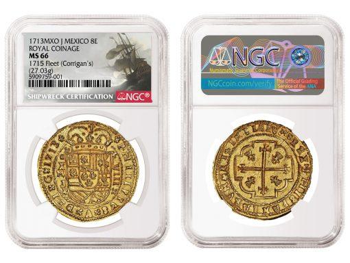 Mexico 1713MXO J Royal Coinage 8 Escudos graded NGC MS 66