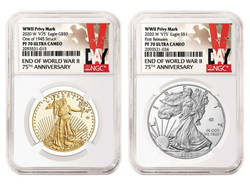 NGC V-Day Special Labels for 2020-W V75 Proof Gold Eagle and V75 Proof Silver Eagle