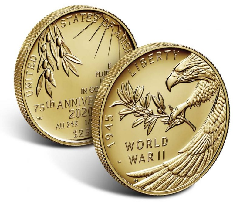 2020-W 24-Karat Gold Coin and 2020-P Silver Medal for End of WWII