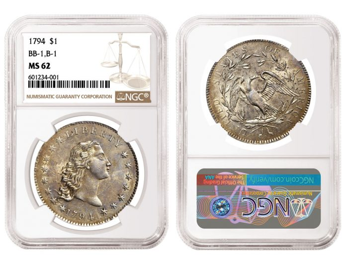 1794 Flowing Hair Silver Dollar, graded NGC MS 62