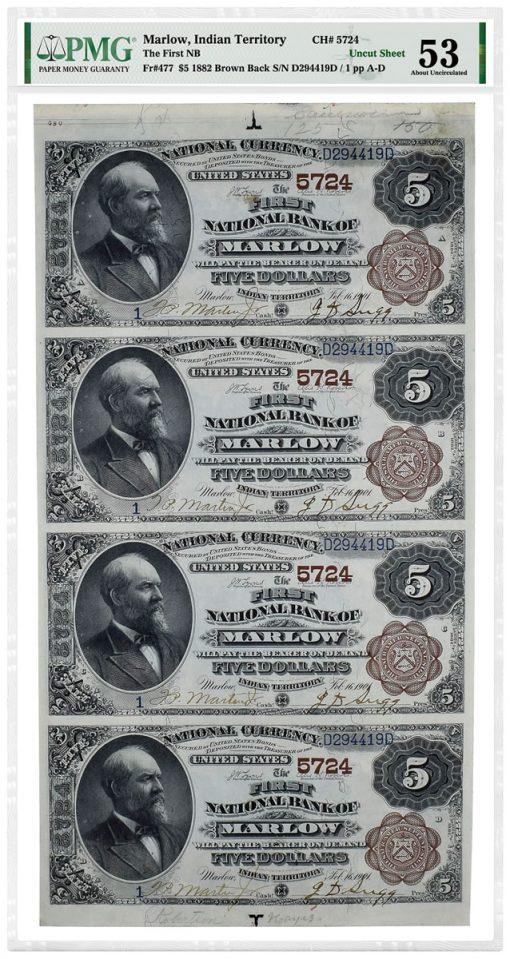 1882 Marlow Indian Territory Uncut Sheet