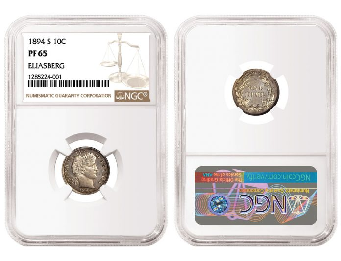1894-S Barber Dime, graded NGC PF 65