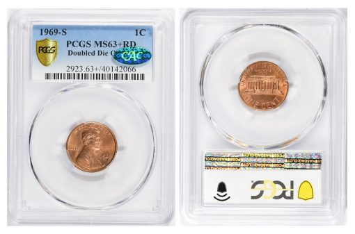 1969-S Lincoln Cent Doubled Die PCGS MS-63+ RD CAC