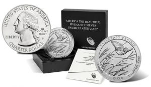 2020-P Tallgrass Prairie National Preserve Five Ounce Silver Uncirculated Coin, Sides and Packaging