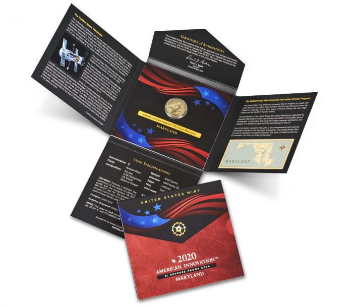 2020-S Reverse Proof Maryland American Innovation Dollar and Packaging