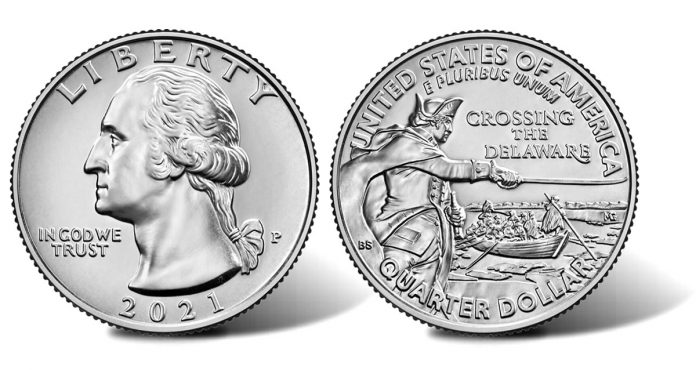 2021 General George Washington Crossing the Delaware Quarter - obverse and reverse