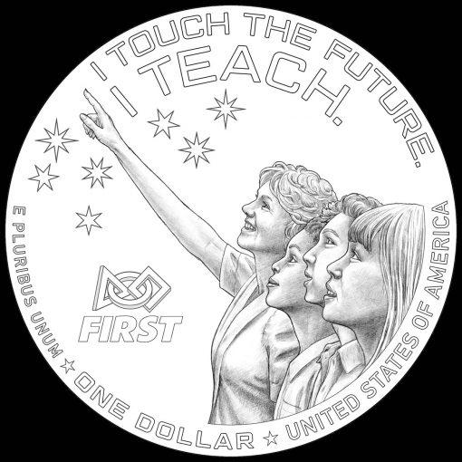 Christa McAuliffe Commemorative Silver Dollar Design - Reverse