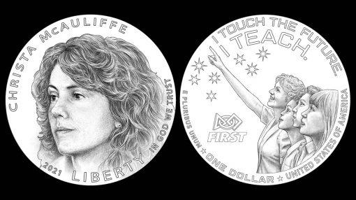 Christa McAuliffe Commemorative Silver Dollar Designs