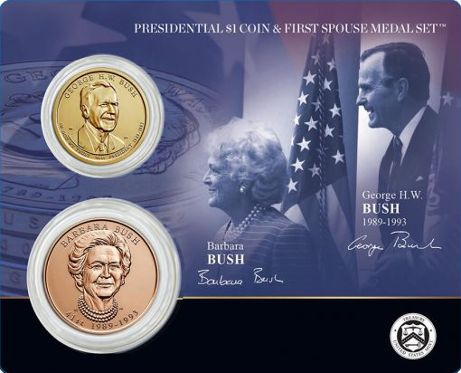 George H.W. and Barbara Bush Presidential $1 Coin and First Spouse Medal Set