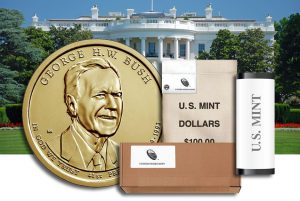 George H.W. Bush Presidential $1 Coins in Rolls, Bags and Boxes