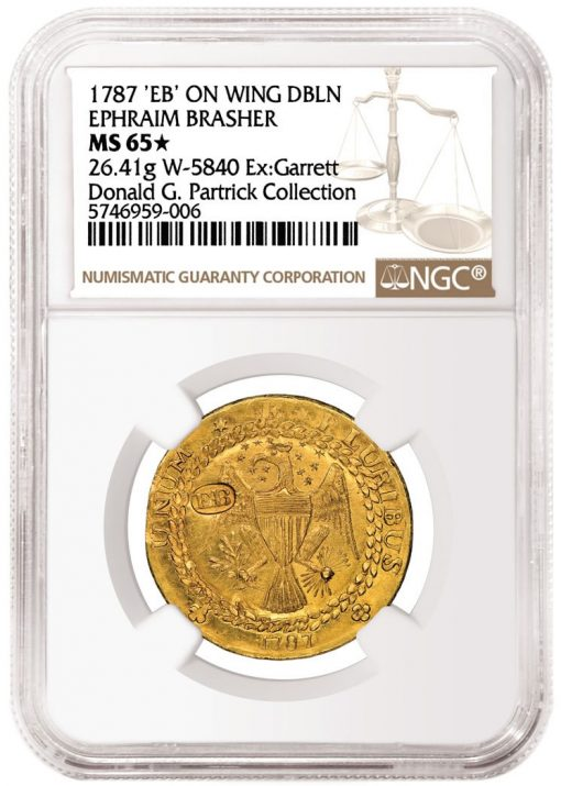 1787 'EB' on Wing Brasher Doubloon graded NGC MS 65★
