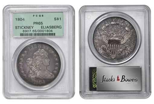 1804 Draped Bust Silver Dollar graded PCGS Proof-65