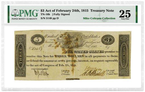 1815 $3 Treasury Note graded PMG Very Fine 25