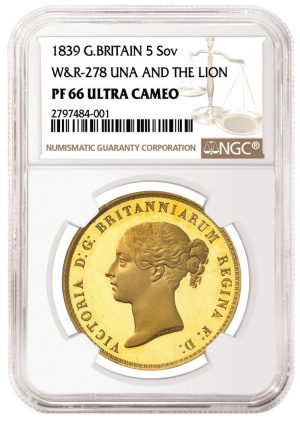 1839 Great Britain Una and the Lion Five Pounds graded NGC PF Ultra Cameo
