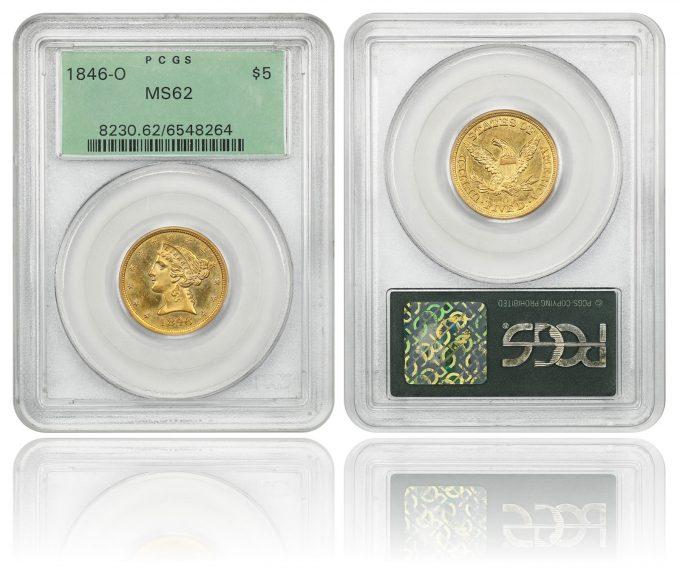 1846-O $5 PCGS MS62 (OGH)