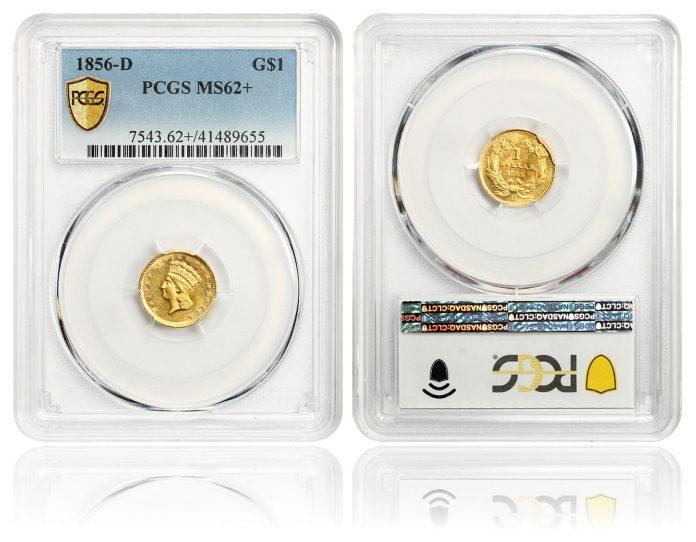 1856-D G$1 PCGS MS62+