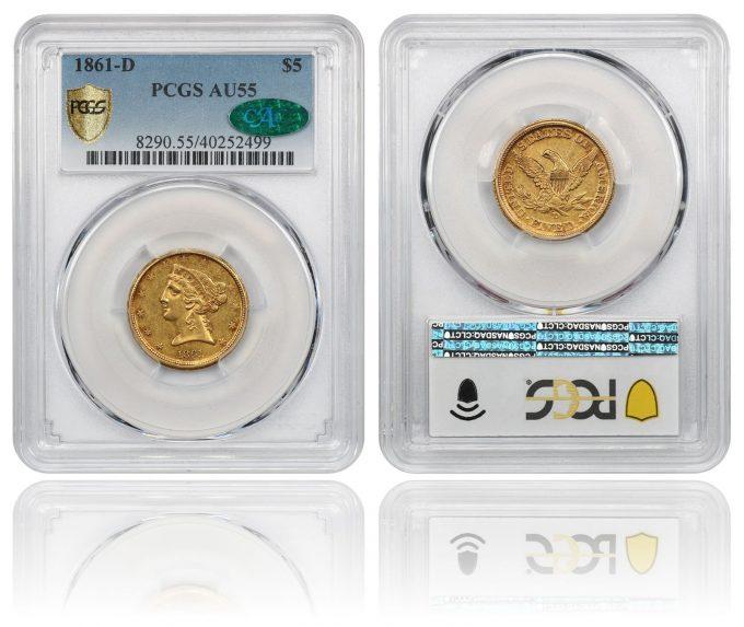 1861-D $5 PCGS/CAC AU55