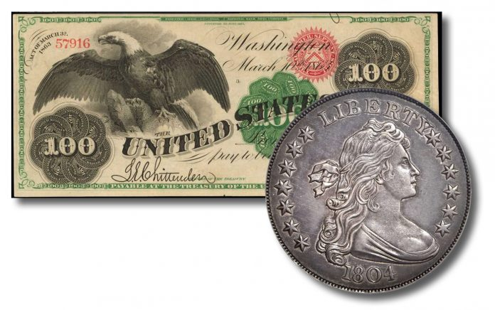 1863 U.S. $100 banknote and 1804 Draped Bust Class I silver dollar