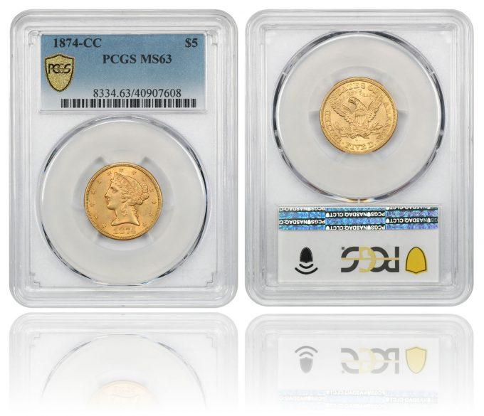 1874-CC $5 PCGS MS63
