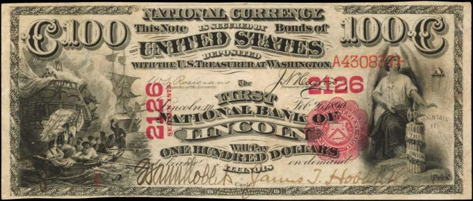 1875 $100 First NB of Lincoln, Illinois, graded PMG 55