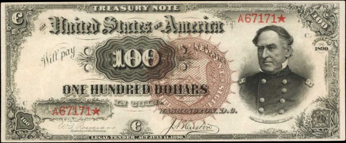 1890 $100 Treasury Note graded 63 EPQ by PMG