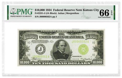 1934 $10,000 Federal Reserve Note (Kansas City) graded PMG 66 Gem Uncirculated EPQ