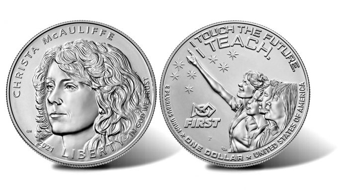 2021-P Uncirculated Christa McAuliffe Silver Dollar (Obverse and Reverse)