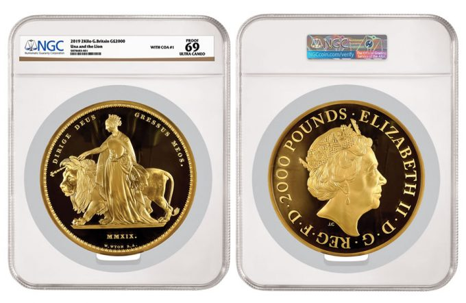 "Elizabeth II gold Proof ""Una and the Lion"" 2000 Pounds (2 Kilos) 2019 PR69 Ultra Cameo NGC"