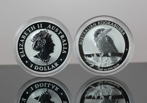 Two 2021 Australian Kookaburra 1oz Silver Bullion Coins - Obverse and Reverse