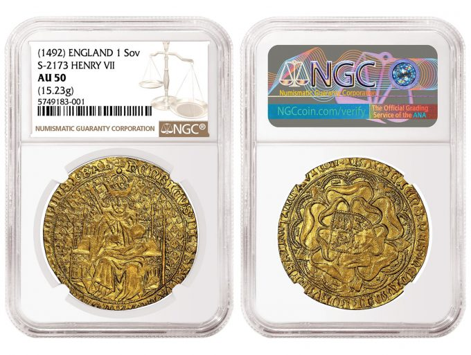 1492 England Type 2 Henry VII Sovereign, graded NGC AU 50