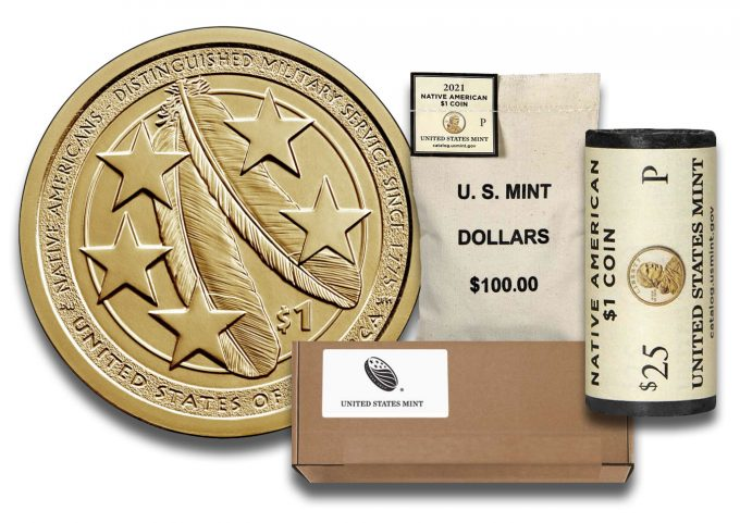 2021 Native American $1 Coin, roll, bag and box