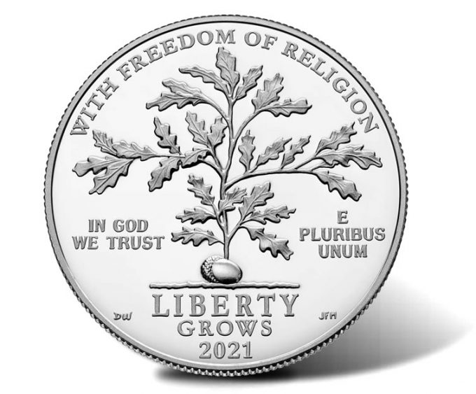 First Amendment to the United States Constitution 2021 Platinum Proof Coin - Freedom of Religion - Obverse