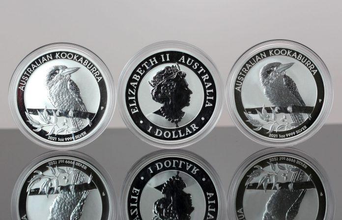 Three 2021 Australian Kookaburra 1oz Silver Bullion Coins - Reverse, Obverse and Reverse
