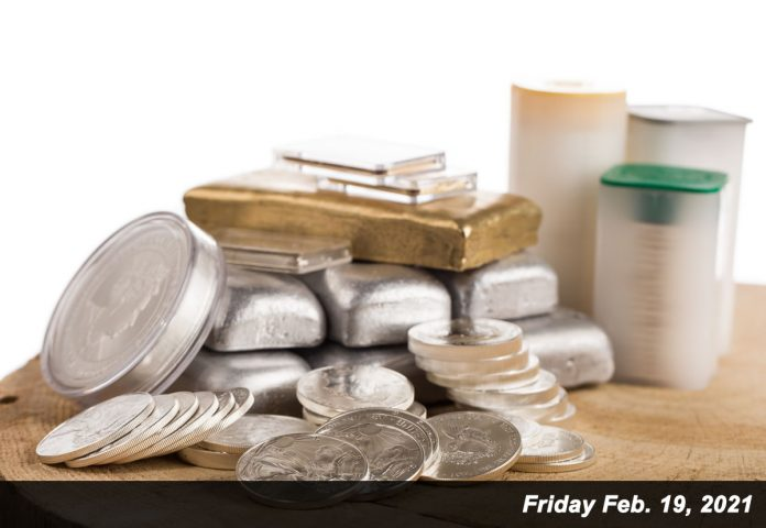 silver coins, gold bars, silver bars Feb 19,2021