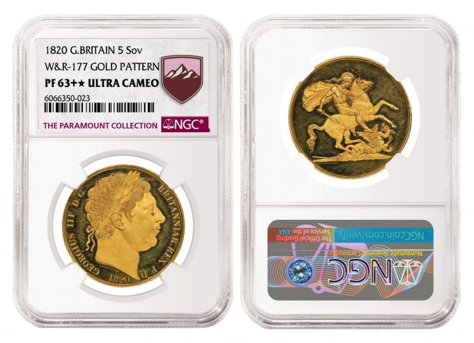 1820 Pattern Gold 5 Sovereign graded NGC PF 63+★ Ultra Cameo
