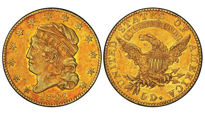 1822 Capped Head Left half eagle