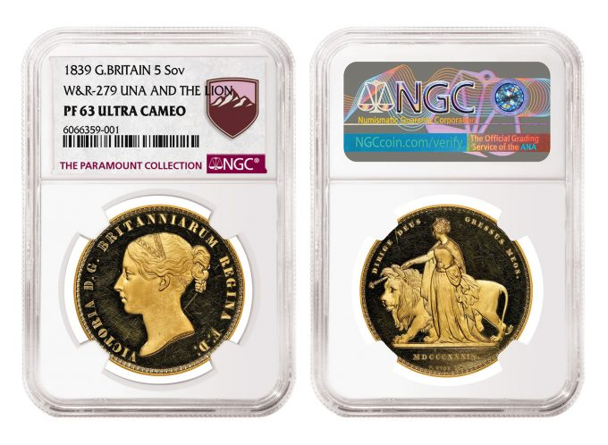 1839 Gold 5 Sovereign graded NGC PF 63 Ultra Cameo