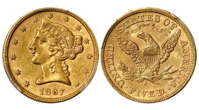 1867-S Liberty Head Half Eagle